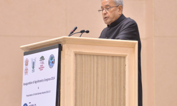 Shri Pranab Mukherjee, the Honorable President of India, opened the World Congress on Agroforestry on 10 February 2014. Photo by Ram Singh/ICRAF